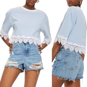 Topshop Stripe Lace Hem Crop Shirt